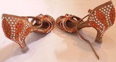Dance partners Latin costume part 4.  Shoes.  approx 350 stones per shoe. Clear stones are Preciosa Fireopal stones are Swarovski