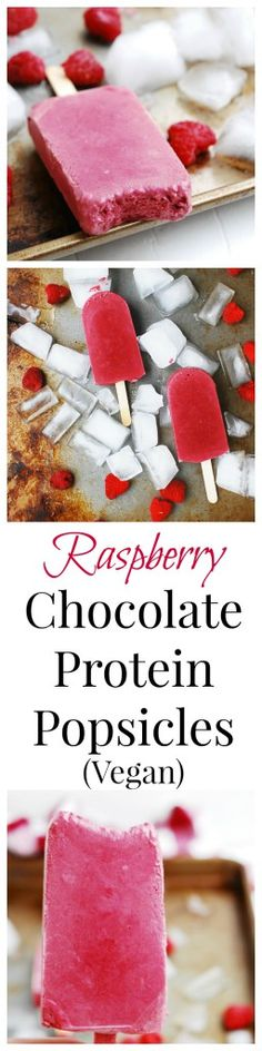 Raspberry Chocolate Protein Popsicles (Gluten, dairy, egg, soy, peanut & tree nut free; top-8-free; vegan, whole30, paleo) by AllergyAwesomeness  |paleo popsicle| |whole30 popsicle| |allergy-friendly popsicle| |vegan popsicle| |protein popsicle| |raspberry popsicle| |raspberry chocolate popsicle| |refined sugar free popsicle|