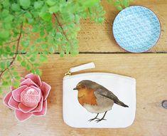 Robin Coin Purse Change Purse Coin Pouch Zip Pouch Canvas Purse Organic Purse Small Zipper Pouch Robin Gift by ceridwenDESIGNby Ceridwen Hazelchild Design
