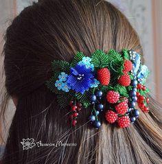 Beaded Flowers in Hair Clip