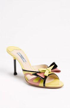 1e62f3d0028e1f Prada Slide Sandals Yellow Pink Black Patent Eu