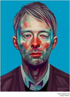 Radiohead's Thom Yorke - portrait illustrations by Evgeny Parfenov