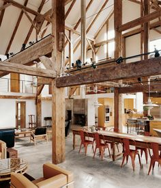 Architect Preston Scott Cohen resurrected an early barn in Pine Plains, New York, as a vacation home for a literary couple and their family. The three major anchor beams were hewn from a single tall yellow pine. Photo by Raimund Koch. Barn Renovation, Barn Living, Living Area, Modern Barn, Rustic Modern, Rustic Feel, Modern Farmhouse, Sweet Home, House Design