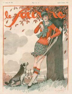 Le Sourire Georges Pavis 1928 Huntress Dog illustrated by Georges Pavis | Hprints.com