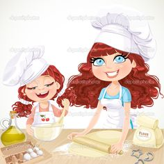 Cute curly hair mom and daughter baking cookies isolated on white background - stock vector Cartoon Chef, Cartoon Mom, Cartoon Pics, Cute Curly Hairstyles, Curly Hair Styles, Mommys Girl, Girl Cooking, Disney Princess Art, Baby Pigs