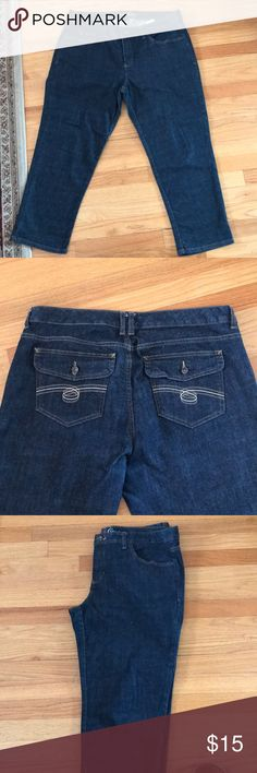 """Tommy Hilfiger Size 16 dark denim jeans.  Like new Tommy Hilfiger Size 16 dark denim jeans.  Like new!  These are cropped; I am 5' 6"""" and they reach my ankle.  Straight leg fit.  Will never ever go out of style. Tommy Hilfiger Jeans Ankle & Cropped"""