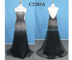 Stunning Black Beading Mermaid Open Back Long Satin Satin Evening Dress, Formal Dress/Occasion Dress For Party