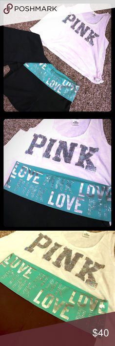 Pink yogas and loose bling tee UFT or sell shirt flawless condition yogas are in EUC no fading but some jewels are missing as shown in picture sold as set preferred. Trade value is 40 same as listing price but that may very time to time PINK Victoria's Secret Tops Crop Tops
