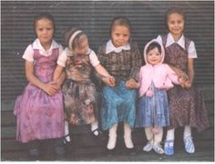Cute Hutterite girls.  The Hutterites descend from the same Anabaptist tradition that gave rise to the Amish, Mennonites, and other Plain People believers.