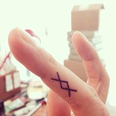 Finger tattoo. Ancient viking symbol. Spiritual, Mental, Physical, Emotional strength.