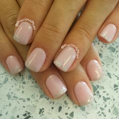 Nude nails with glitter ombre nails