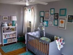 Project Nursery - Eclectic Gray and Turquoise Nursery Crib View