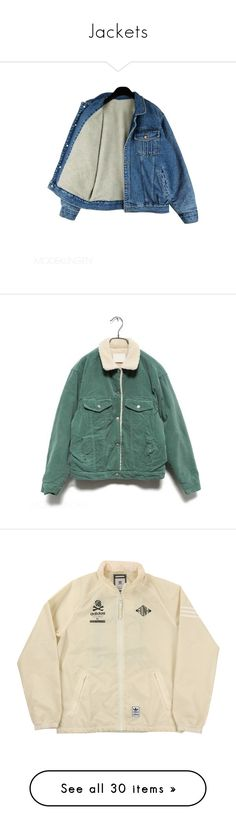 """""""Jackets"""" by i-smell-grunge ❤ liked on Polyvore featuring outerwear, jackets, tops, coats, women, denim jacket, blue jackets, faux-leather jacket, blue denim jacket and green jacket"""