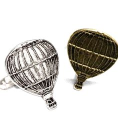Hot Air Balloon Cufflinks- Silver OR Bronze- Mens Handcrafted Gondola Aircraft Sky Travel Cuff Links- Prom Groom Wedding Mans Flight Gift from my Etsy shop https://www.etsy.com/listing/268476112/hot-air-balloon-cufflinks-silver-or
