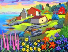 Coup de foudre a L'Ile Verte by-louise-marion - Louise Marion, artiste peintre, paysage urbain, Quebec, couleurs