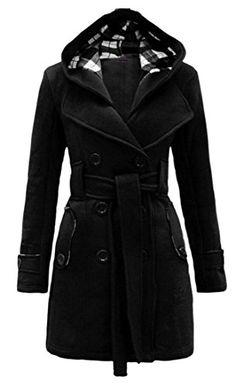 Generic Womens Winter Wool-Blend Double-Breasted Pea Coat Hood Overcoat black XS