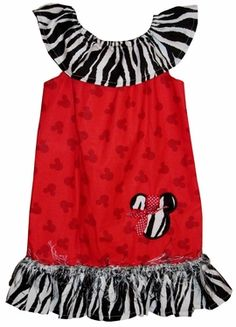 Custom Disney Chic Zebra Safari Minnie Mouse Appliqued Peasant Dress.
