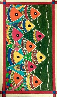 Beautiful Fish Madhubani Folkart Art Madhubanipainting Indianfolkart Fish Water Painting This Is A Beautiful Madhubani Painting Showing Harmony In Water World Gond Painting, Mural Painting, Mural Art, Fabric Painting, Gouache Painting, Madhubani Paintings Peacock, Madhubani Art, Indian Art Paintings, Indian Folk Art
