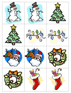 Christmas Memory Game Printable - - Pinned by @PediaStaff – Please visit http://ht.ly/63sNt for all (hundreds of) our pediatric therapy pins
