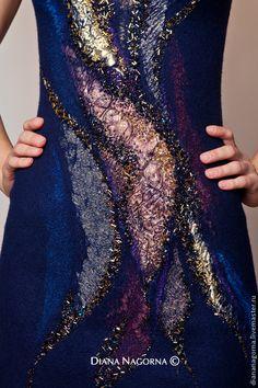 """Купить Авторское платье из мериносовой шерсти """"Sunset glow"""" - тёмно-синий, платье, Платье нарядное"""