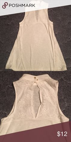 Candies white tank top ❤️White wide strap tank!!! Lace trim up both sides and lace trim on back with an open slit!! Very cute!! Never been worn!! Candie's Tops Tank Tops