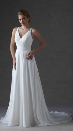 Bonny Live style 6614 - a-line chiffon wedding dress with V neckline, beaded straps and natural waistline . Click on the image to see the modern keyhole back!