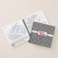Stylish White Black Buffalo Check Plaid Pattern Notebook - cyo diy customize unique design gift idea