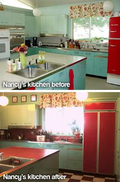Nancyu0027s Metal Kitchen Cabinets Get A Fresh Coat Of Paint   And Lots Of New  Red Accents