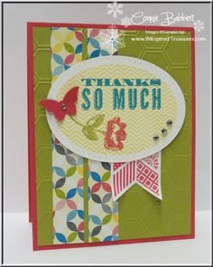 Connie's cheerful card features Sunshine & Sprinkles dsp, Honeycomb embossing folder, Ovals framelits, & Bitty Butterfly punch.