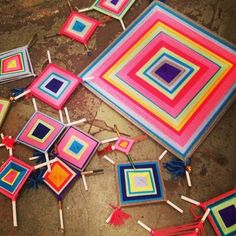 this looks like something i would have liked to make..  love the colors and bold pattern.  God's Eye | 16 Crafts You Loved Making As A Kid