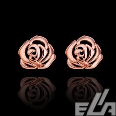 18k real gold plated earrings rose flower jewelry embellishments