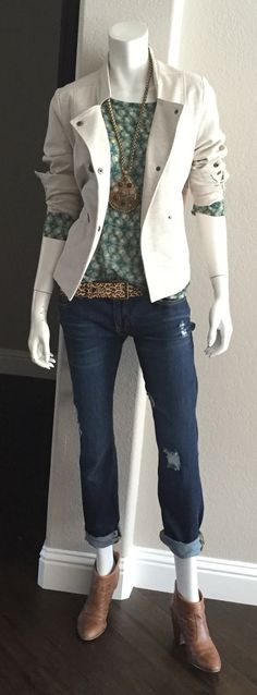 cabi Fall '15 Jade Top, Dark Destruction Slim Boyfriend Jean, Kipling Belt & Charlie Jacket w the Casablanca necklace and booties.  This outfit is so me.