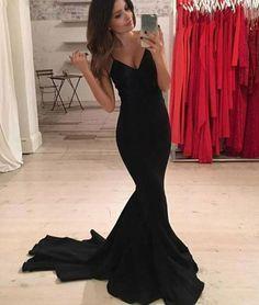 Simple Black Mermaid Long Prom Dress, Black Evening Dress, Prom Dress Sweep Train, Sexy Black Woman Dress, Sexy Evening Dress, Formal Prom Dresses,41204