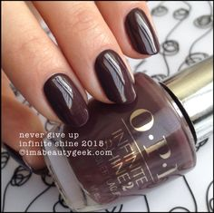 OPI Infinite Shine Never Give Up. Lots of OPI Infinite Shine swatches on click-thru to www.imabeautygeek.com