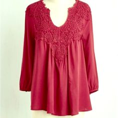 FLASH SALEGorgeous Tunic Top NWT beautiful detailed tunic top. Dark wine color. Would look great with skinny jeans and some boots ❤️ ModCloth Tops Tunics