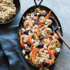 This colorful Mediterranean shrimp recipe brims with the flavors of feta, olives and oregano. To make it a party appetizer, serve it with a sliced baguette. colorful Mediterranean shrimp recipe brims with the flavors of feta, oliv Mediterranean Shrimp Recipe, Mediterranean Dishes, Mediterranean Appetizers, Shrimp Recipes, Fish Recipes, Recipes With Olives, Clean Eating Snacks, Healthy Eating, Salads