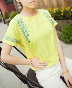 Ethnic Embroidery Yellow Chiffon T-shirt