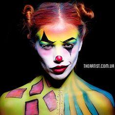 Грим на Хэллоуин Киев, Аквагрим на Хэллоуин Киев, макияж на Хэллоуин, маска клоуна, Halloween makeup, Halloween facepainting Kiev. Halloween mask facepaint  Http://Theartist.com.ua
