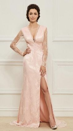 47d0637b889 Mother of the Bride- Lace V-Neck Column Dress with Sheer Illusion Sleeves  and Front Leg Split