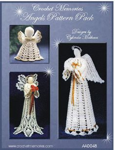 Work up three delightful and beautiful crochet angels for your home. From an ornament potpourri angel to majestic, serene and beautiful tree toppers. For the first time ever, we're selling a pattern pack in digital format only!