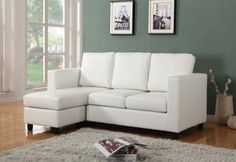 Newport Cream Eco Leather Small Condo Apartment Sized Sectional Sofa with Reversible Chaise Cream Living Room Furniture, Cream Living Rooms, Condo Furniture, Small Sectional Sofa, Sofa Set, Shop Furniture Online, Leather Furniture, White Furniture, Couches For Sale