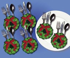 Design Works Felt Applique kit CHRISTMAS WREATH SILVERWARE 6 POCKETS Sale #5534 #DesignWorks