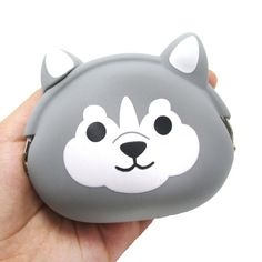 Husky Dog Face Shaped Mimi Pochi Animal Friends Silicone Clasp Coin Purse Pouch