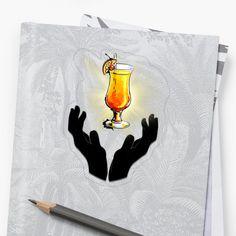 'Holy Cocktail / Praying For Drink' Sticker by RIVEofficial Transparent Stickers, Superhero Logos, Holi, Pray, Custom Design, Digital Art, Cocktails, Trends, Artist