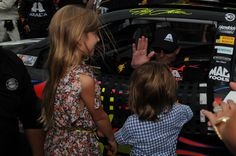 Jeff giving a high five to Ella and Leo in victory lane!