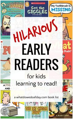 Very, very funny early readers. Books for beginning readers, reluctant readers and kids who just want a good funny book to make them laugh! You won't want to miss these. Click through to see the whole list. Not just Elephant & Piggie books.