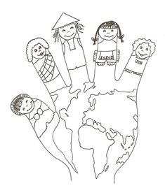 World hand puppet coloring sheet Preschool Education, Preschool Learning Activities, Homeschool Kindergarten, Preschool Activities, Around The World Theme, Kids Around The World, K Crafts, World Crafts, Coloring Sheets