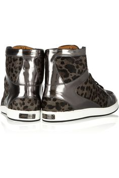 Jimmy ChooTokyo leopard-print calf hair and mirrored-leather sneakers