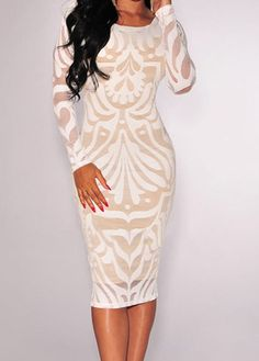 White Long Sleeve Round Neck Sheath Dress  Ordering this today for company holiday party. :)