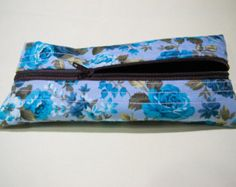 Handmade Scented Floral Blue Pencil Case, Pencil pouch, unisex, gadget case, zippered, back to school